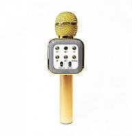 Караоке микрофон беспроводной Bluetooth Wireless WS-1818 Gold