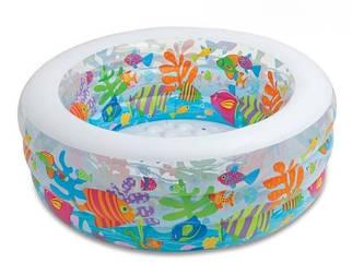 Бассейн надувной детский круглый Аквариум 152см х 56 см Intex 58480