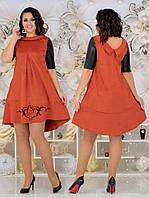 Нарядное замшевое платье с рисунком и жемчугом 48-54р.(4расцв), фото 1