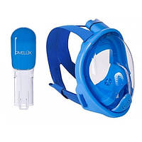 Детская полнолицевая маска для плавания DIVELUX Snorkel Mask с креплением на камеру XS Синий (SN_110)