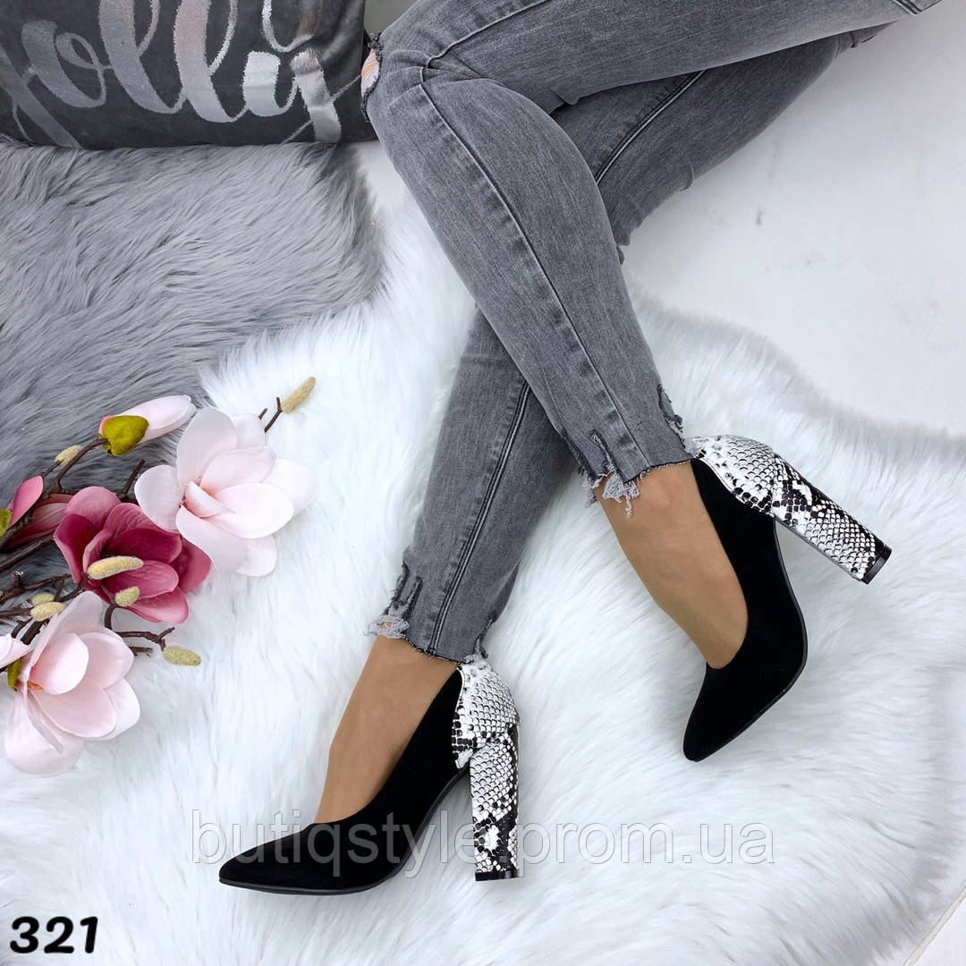 Женские черные туфли на каблуке питон экозамш+экокожа