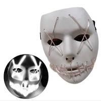 Неоновая Маска для вечеринок с подсветкой LED Mask 1 White