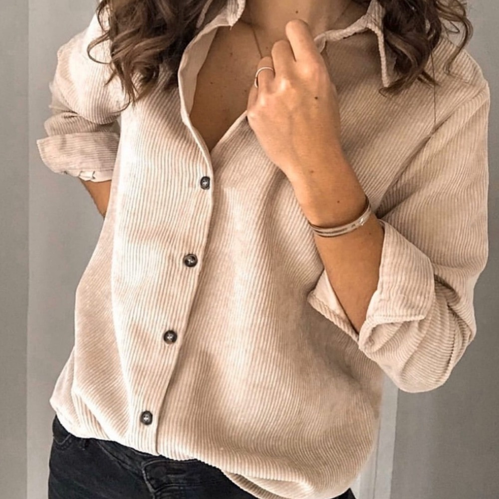 Рубашка женская, классическая, офисная, вельветовая, свободная, повседневная, цвета в ассортименте, модная