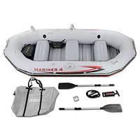 Четырехместная надувная лодка Intex 68376 Mariner 4 Set, 328 х 145 х 48 см, с веслами и насосом