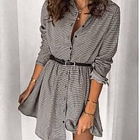 Платье-халат женское короткое,повседневное, трикотажное, в клетку, на пуговицах, с поясом в комплекте