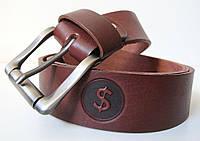 Ремінь шкіряний під джинси Dollar (Долар) коньячний колір коричневий