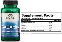 Swanson, Комплекс для расслабления и борьбы со стрессом GABAplex, GABA, ГАБА, ГАМК, Глицин, 60 капсул