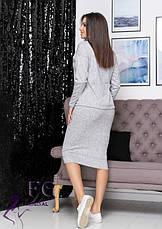 Теплый женский костюм-двойка из ангоры с юбкой миди серый, фото 2