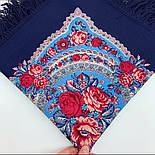 Розовый сад 1901-14, павлопосадский платок шерстяной с шерстяной бахромой, фото 6