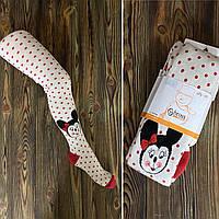 Детские махровые колготки Bross размер 110-116 см (Арт. 00013) белые с красный горошек Минни Маус