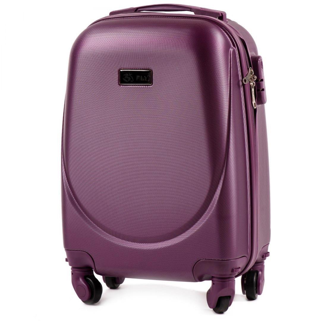 "Валіза пластикова на колесах FLY K310 маленька  25 л. розмір 18"" т. фіолетова"
