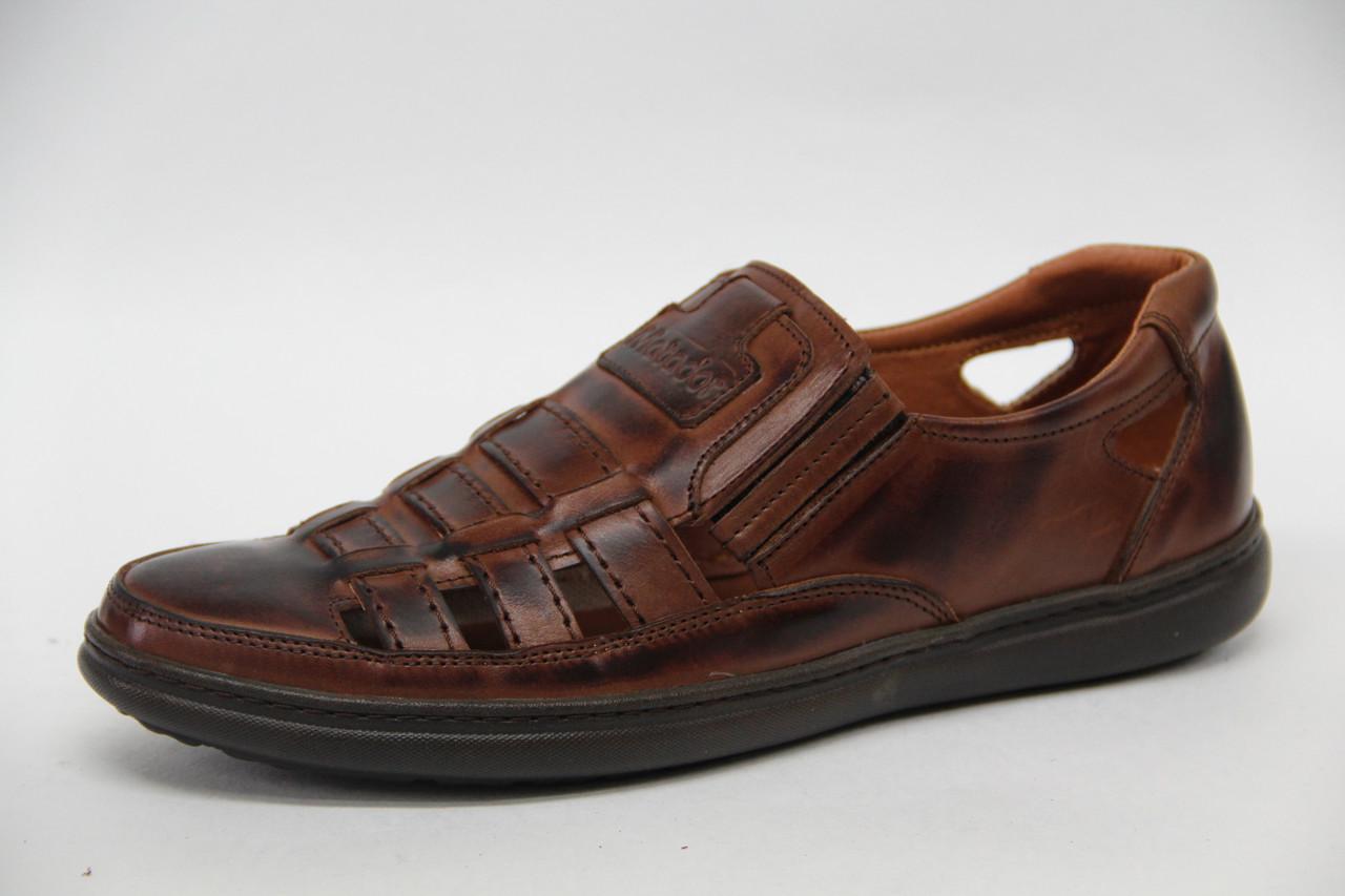 Туфли мужские летние из натуральной кожи на резинке коричневого цвета Matador 54 к