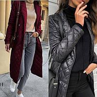 Куртка - пальто женское зимнее, стеганная плащевка, на синтепоне 150,на пуговицах, норма и батал, фото 1