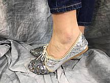 Балетки женские Sara серебристые 36-38