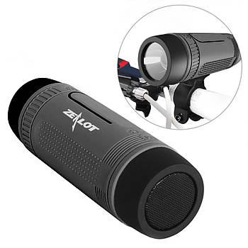 Беспроводная портативная колонка ZEALOT S1 Серый bluetooth с микрофоном LED фонариком microSD 3 Вт 4000 мАч