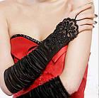 Перчатки стрейч-атлас без пальцев, 30 см, белые, фото 3