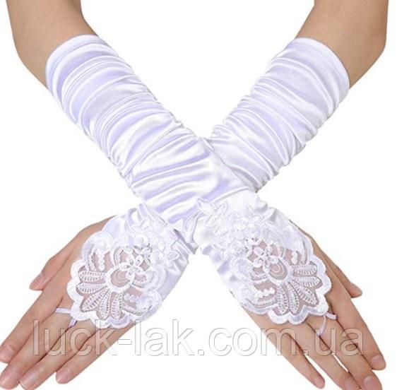 Перчатки стрейч-атлас без пальцев, 30 см, белые