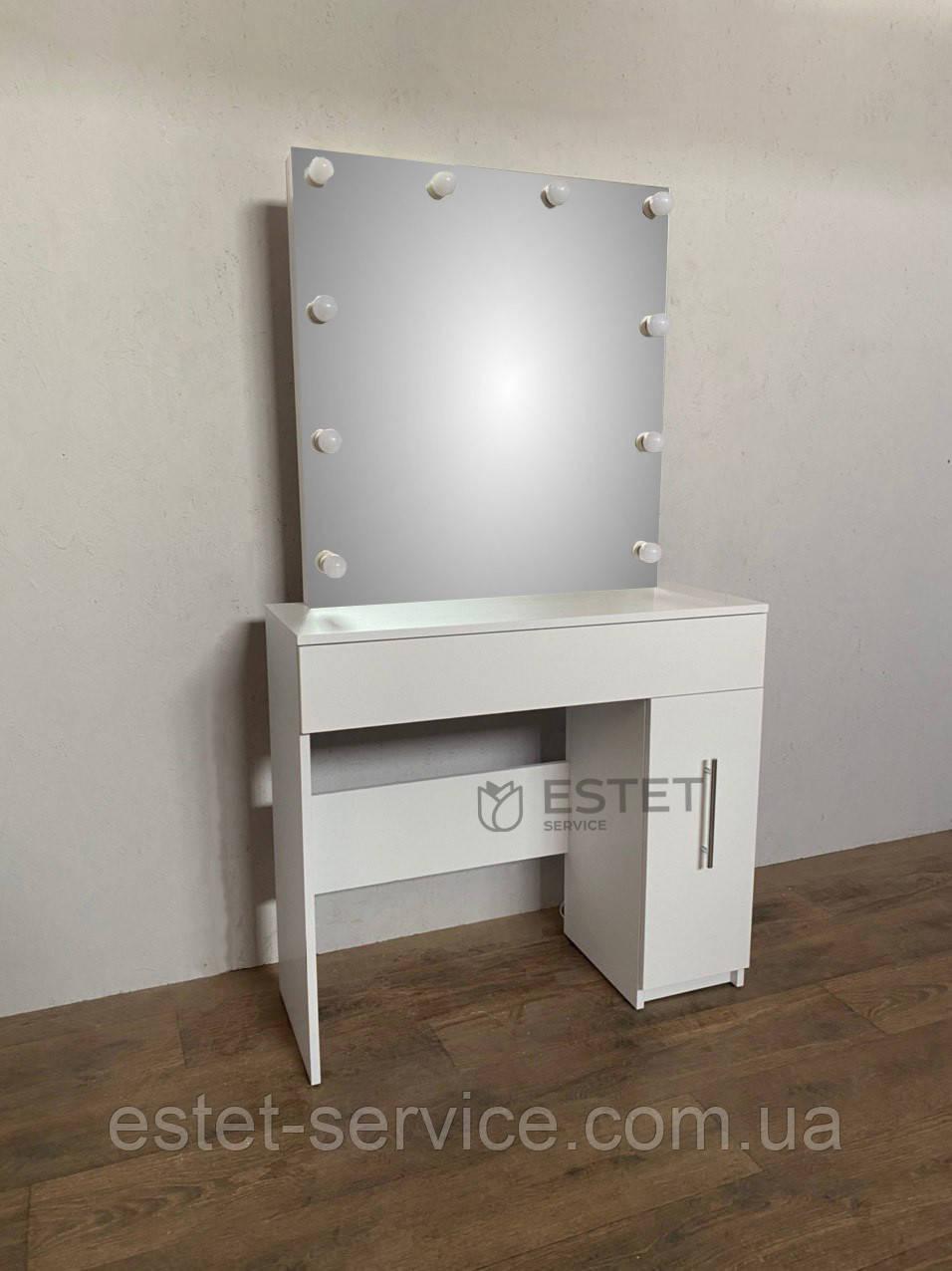 Столик для макияжа ES145 с зеркалом без рамы и тумбой на 2 ящика