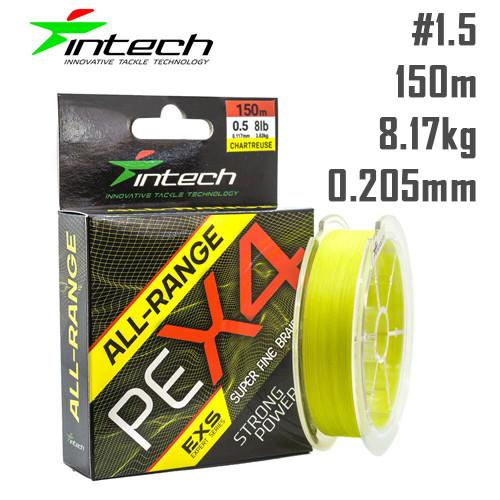 Шнур Intech All-Range PE X4 150m Жёлтый #1.5 (0.205мм) 8.36кг (18lb)