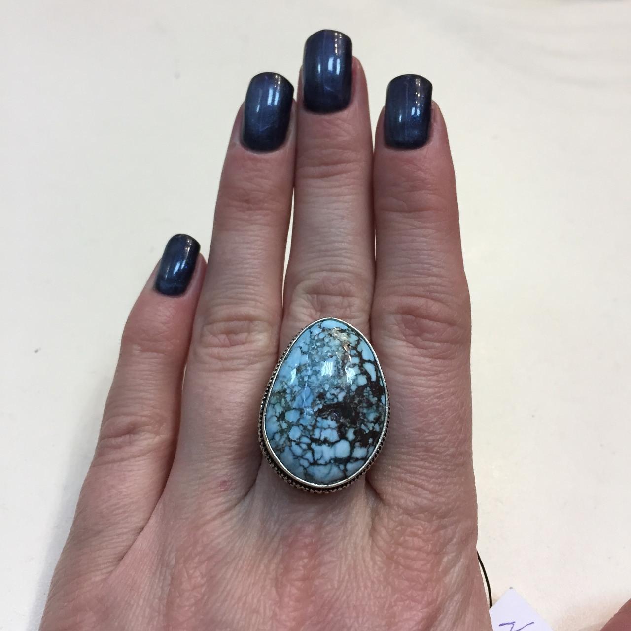 Бирюза кольцо с бирюзой 17,5-18 размер натуральная бирюза в серебре