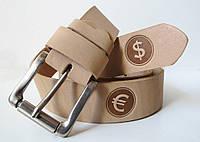 Ремінь шкіряний під джинси Dollar (Долар) бежевий, фото 1