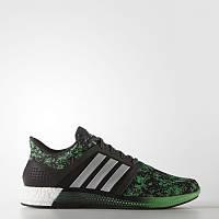 Кроссовки мужские adidas Solar rnr Boost AQ1915 (черные c зеленым, беговые, тканевый верх, бренд адидас)