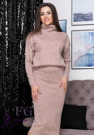 Рожевий жіночий ошатний костюм ангора-софт: вільна кофта з горловиною і спідниця міді, фото 2