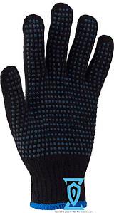Рукавички робочі синтетика чорні з пвх покриттям (4work)