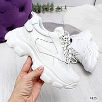 Женские белые  кроссовки на массивной белой подошве Stand, фото 1