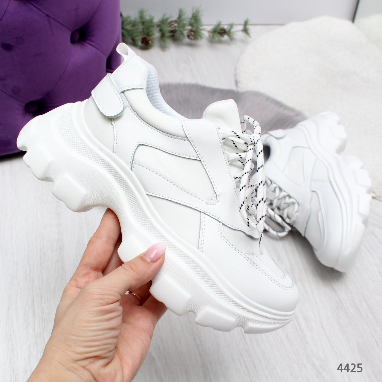 Женские белые  кроссовки на массивной белой подошве Stand