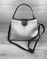 Серебристая сумка 57407 через плечо оригинальная модная, фото 1