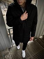 Куртка мужская демисезонная длинная черная Fusion