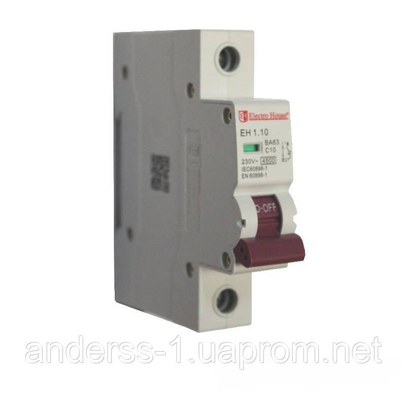 ElectroHouse Автоматичний вимикач 1P 10A 4,5 kA 230-400V IP20