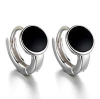 Модные миниатюрные  серебряные серьги колечки с черной эмалью