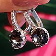 Серебряные серьги с кристаллами Сваровски - Серебряные серьги с темными камнями, фото 7