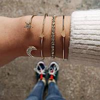 Набор браслетов 4в1 цвет металла золото