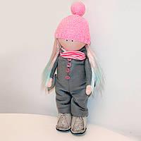 Мягкая кукла ручной работы Девочка в стильном комбинезоне