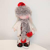 Мягкая кукла ручной работы Девочка в платье и кедах в клетку