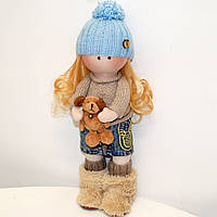 Мягкая кукла ручной работы Девочка с собачкой