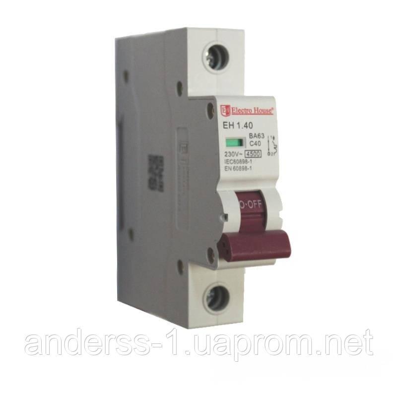 ElectroHouse Автоматичний вимикач 1P 40A 4,5 kA 230-400V IP20