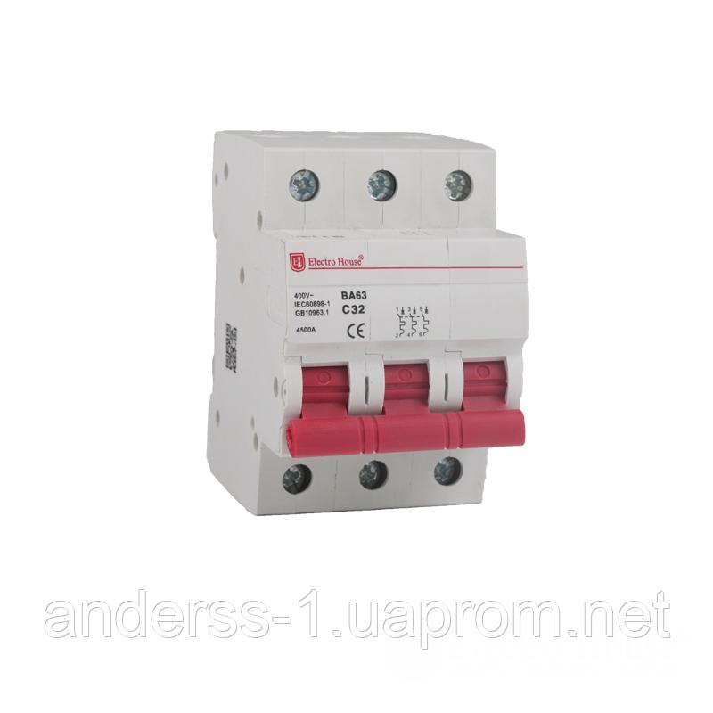 ElectroHouse Автоматичний вимикач 3P 100A 4,5 kA 230-400V IP20