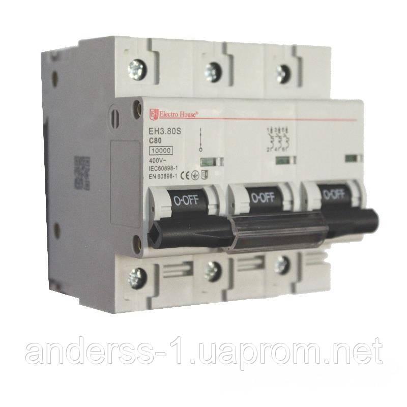 ElectroHouse Автоматичний вимикач силовий 80A 4,5 kA 230-400V IP20