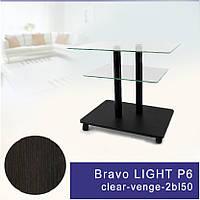 Стол журнальный стеклянный прямоугольный Commus Bravo Light P6 clear-venge-2bl50