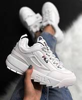 Кожаные кроссовки Fila disruptor 2 white, белые
