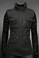 Мужская серая куртка из кашемира с рукавами из утепленной эко-кожи