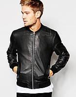 Классическая мужская черная куртка бомбер из эко-кожи, фото 1