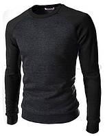 Трикотажный свитшот мужской двухцветный black, фото 1