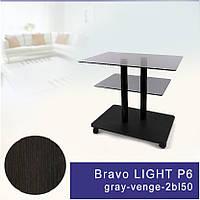 Стол журнальный стеклянный прямоугольный Commus Bravo Light P6 gray-venge-2bl50