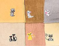 Кухонное махровое полотенце размер 25*50 коты микс
