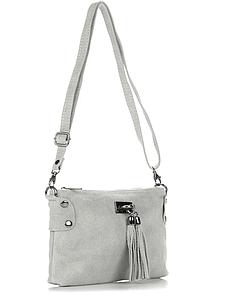 Женская серая кожаная сумка из Италии 24х16х1